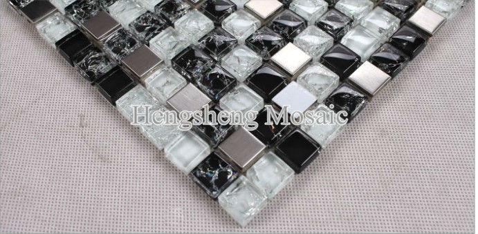 Tamano Baldosas Baño:Baldosas para baño y cocina Blanco y Negro de cristal del mosaico de