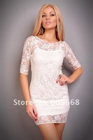 Вечернее платье ladies sexy clubwear evening party white / black lace mini dress with tank inside #2053