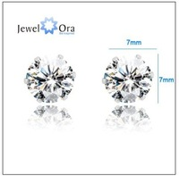 Xmas gift free shipping wholesale price Rhinestone 7mm 316 Stainless Steel Cubic Zirconia Stud Earrings for women #EA100602