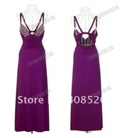 Одежда и Аксессуары Women's Sexy Low Cut V-neck Strappy Backless Jewel Full-length Long Maxi Evening Dress Black White Purple 3590