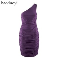 one-shoulder slim dress with elastic fold free shipping for epacket and china post air mail