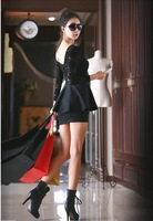 Женское платье Hot 2012 new fashion ladies sexy cotton lace dress, Elegnat Lace patchwork ladies print dresses /black and red