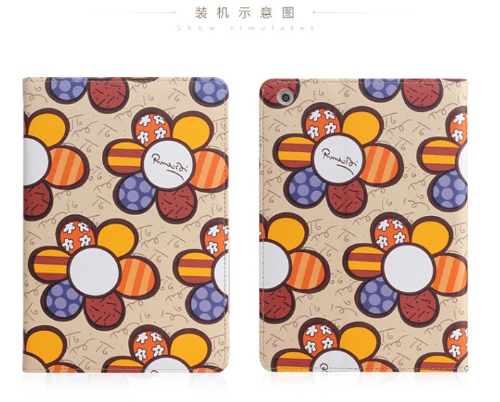 New Fashion cute stand flip folio Flower Series Pastoral Style Printed leather case cover for iPad mini