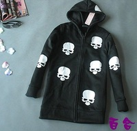Женские толстовки и Кофты IRIS Knitting CO-023 Women Fashion Skull Heads Lady Zip Up Coat/Jacket Black White Hot Sweater For Autumn
