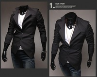 The cheapest casual fashin suit / men black fake two pieces suit/ handsome men asymmetry style bardian suit/coat