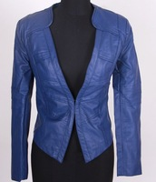 Brown blue black Leather fashion women jacket long sleeve leatherlady suit blazer/1 piece Free shipping retail wholesale/FZ0752