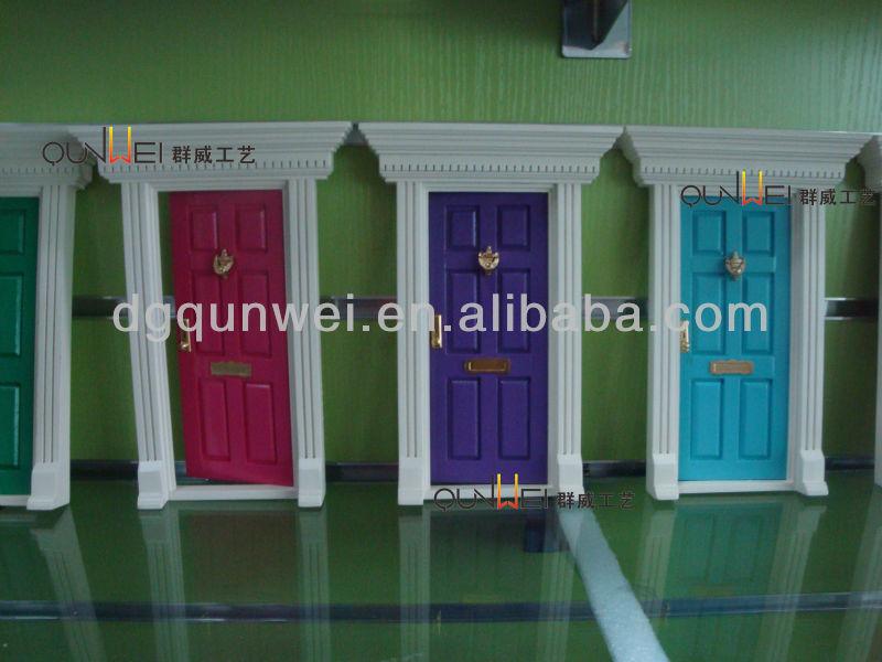 Eco 1/12 de Casa De Bonecas Móveis Em Miniatura de Madeira Frente De Fadas 6 Painel Da Porta De Madeira