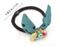 Ювелирное украшение для волос Crystal Ball Pendant Leaf Chiffon Butterfly Bow Hair Ring Jewelry2012, 6 mixed colors to choose