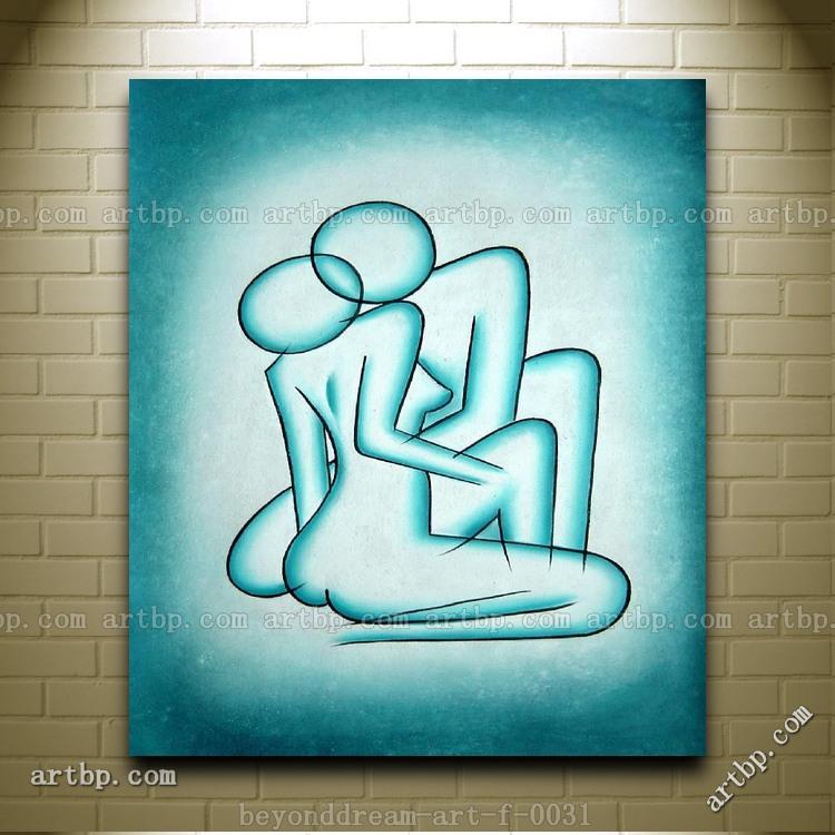 Pintura moderna de beso pintura al óleo abstracta moderna