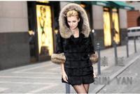 Женская одежда из меха Hot Genuine Farm Rex Rabbit Fur Jacket/Coat Raccoon collar Warm Winter Ladies