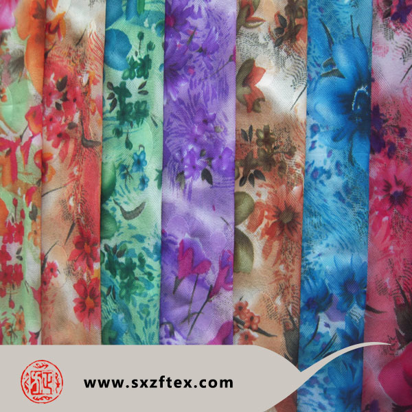 Hot sale paper printed big flower design high spandex polyester mesh jacquard fabric