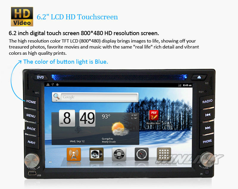 Hot 2 din universal android auto dvd gps with 1G CPU 512 RAM car navigator TV radio iphone