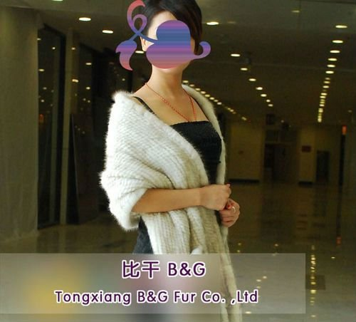 BG6407 Genuine Knitted Mink Fur Stoles OEM Wholesale/Retail