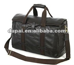 High Quality Men Genuine Leather Travel Bag with Laptop Compartment