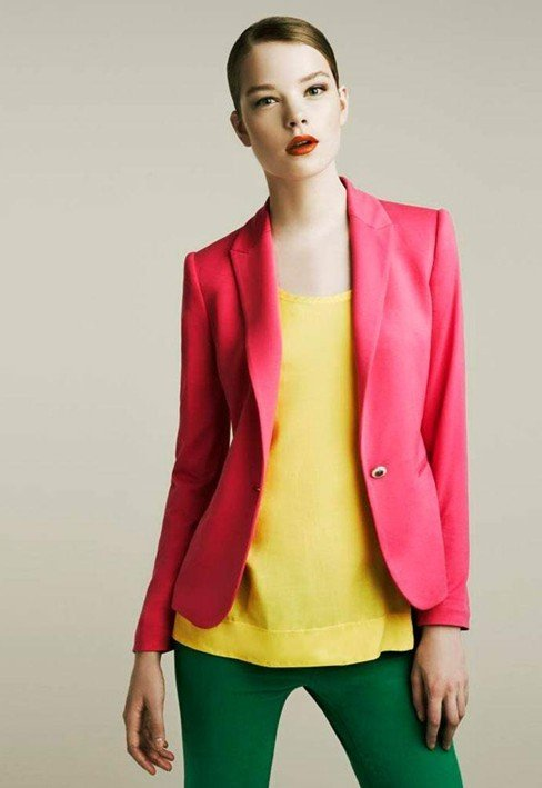 Free Shipping 2012 New Arrival Women Suit with Pink, Orange Colors, Made of Cotton & Spandex with Lining, Vogue, Refresh WW1805
