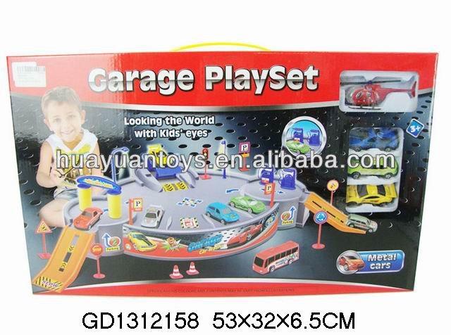 Parking lot super garage playset railway car