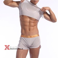 Wide waist side open fork comfortable leisure men household pants GO730-85 Gray