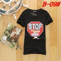 Летняя мода случайные дамы хлопок лайкра рубашка футболка грунт вокруг шеи футболку девушки модели личности