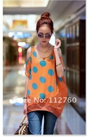 2012 fashion dot maternity blouses for pregnant women Personality chiffon shirt tops clothes Orange L XL XXL Retail&Wholesale