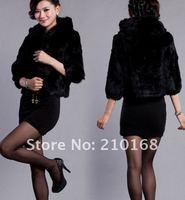 Женская одежда из меха Best-selling Vogue High Quality Korean Rabbit Hair Hooded Fur Coat Black HN12090551-4