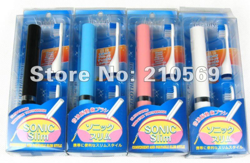 2012 new Free shipping Sonic Electric Toothbrush Tooth Massager Clean Cleaner with 3 Brush Heads red/white/Black/pink#17