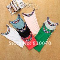 Женский топ Hot Sale! Fashion Lady's bohemia jewellery neckline cotton tank top - T020