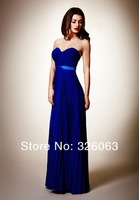 2014 New Popular Fashion Chiffon Strapless Sweetheart Pleated A-Line Long Sexy Prom/Evening Dresses
