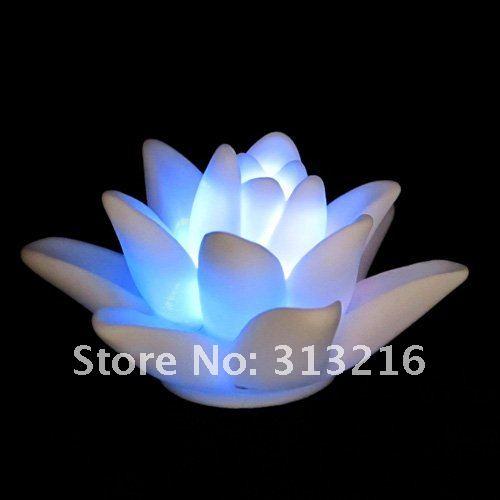 10pcs LED Color Changing Night Light White Lotus Flower Lamp #1759