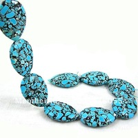 Бусины Charm Blue Synthetic Turquoise Teardrop Loose Beads 30plus22mm-13pcs Strand/Loose Stone