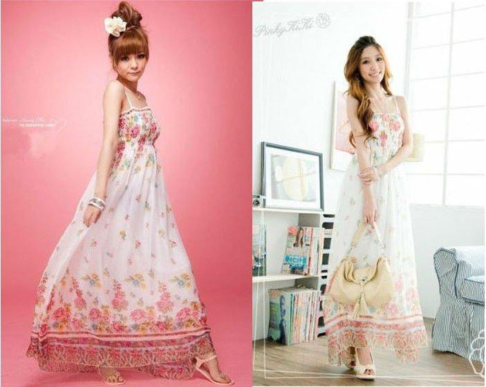 2012 New Design Maxi Printed Chiffon Dress