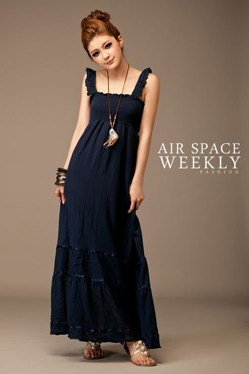 free shipping New womens Bohemian solid maxi dress summer dress 4 colors 1 pcs