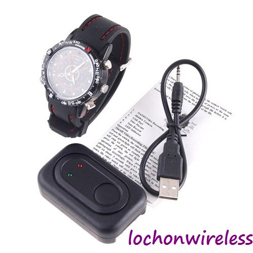 Free Shipping Black Waterproof 8GB Camera Watch With 1280*960 Mini Digital DV Video Camera Watch