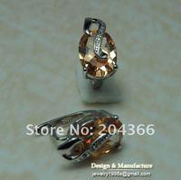Серьги 1pairs 925 silver Rhodium plated natural zircon earring E91, Size:1.8cmX1cm