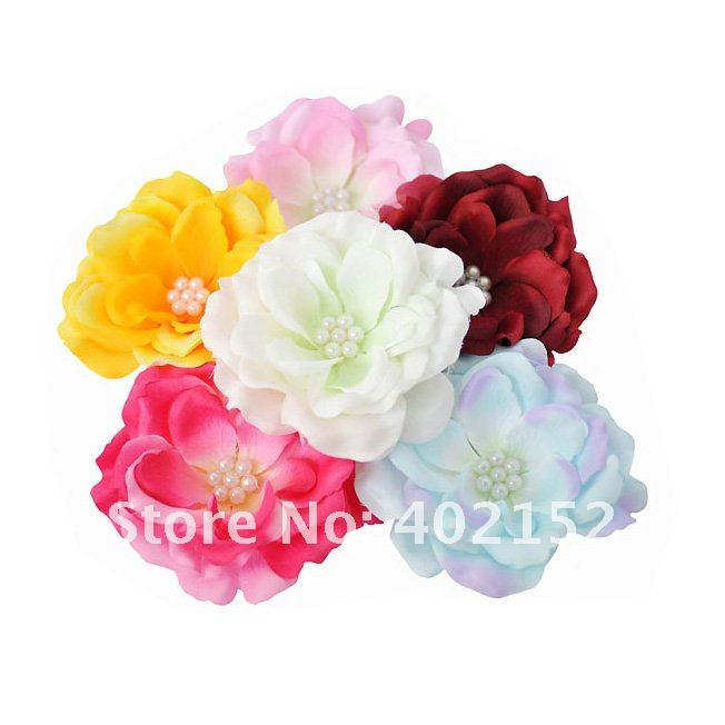 free shipping(120pcs/6colors)4&quot; inches Pearl Roses  flowers hair accessories SOLD INDIVIDUALLY and high quality Flat back