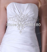 Free Shipping 1pcs/lot Grace Karin Strapless Satin Bride Beach Wedding Dresses 2013 Bridal Gown CL3555