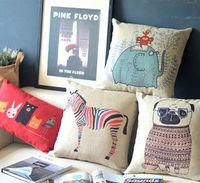 Диванная подушка 4 pcs High Quality Decorative Cotton Linen, Cushion Cover, Pillow Case- Animal World