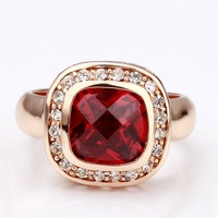 newest 18k Swarovsk elements Red gem golden mexican silver jewelry