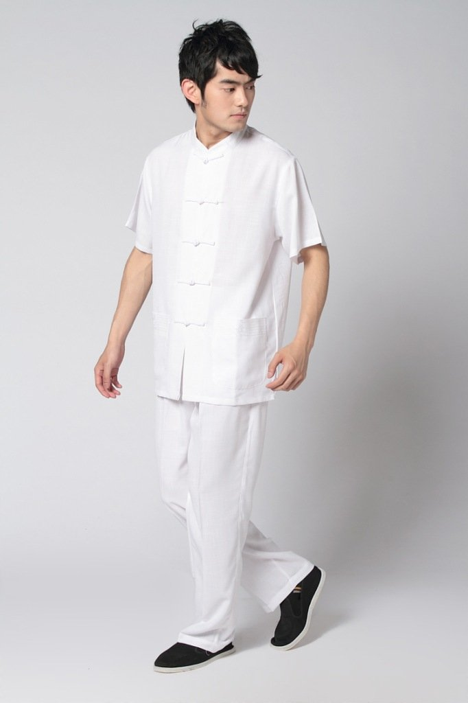 buy Newest Beige/Black Chinese Men's Linen Shirt Kung Fu Trousers ...