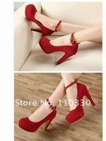 Туфли на высоком каблуке fashion round toe ankle strap flock high heel shoes, single shoes, OL shoes, GS_A668