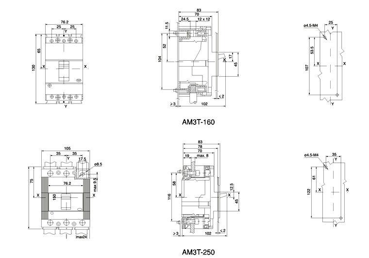 AM3T series moulded case circuit breaker 160a mccb 3p mccb