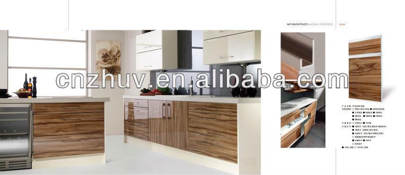 High gloss arcylic wood grain kitchen cabinet doors for Wood grain kitchen doors