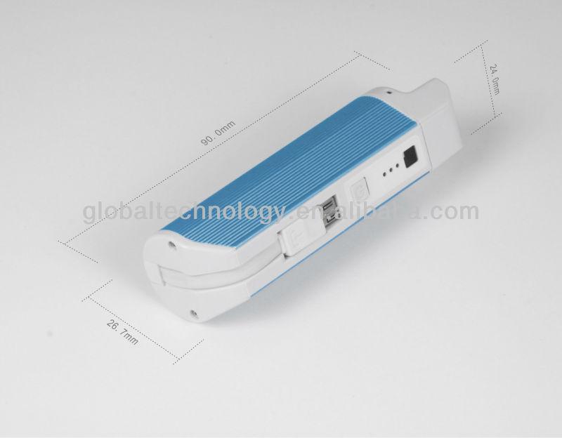 2200mah Direct plug charging power bank with flashlight function