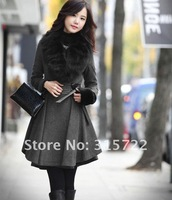 Women's Winter Elegant Slim Fit Long Fashion Coat Jacket Woolen Faux Fox Wool Collar Outwear L/005