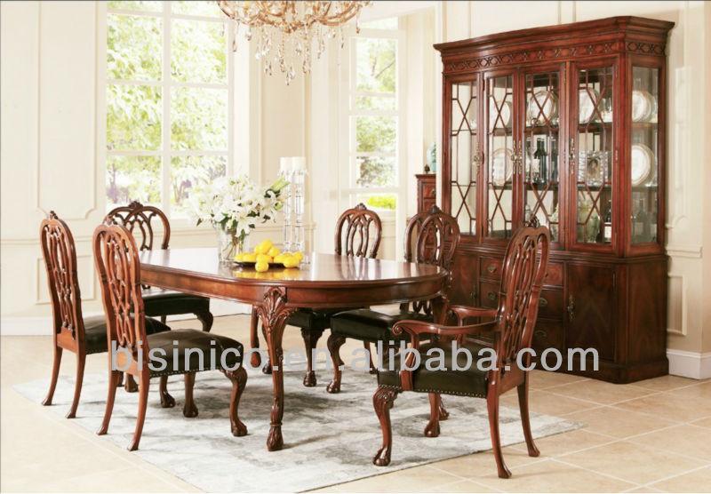 Noble y elegante madera mesa de comedor silla de w elíptica ...
