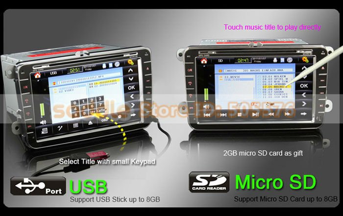 "VW Car DVD , 8"" HD Car DVD Player with Digital Touch Screen + GPS + DVB-T Tuner + A2DP Bluetooth + Dual Zone !"