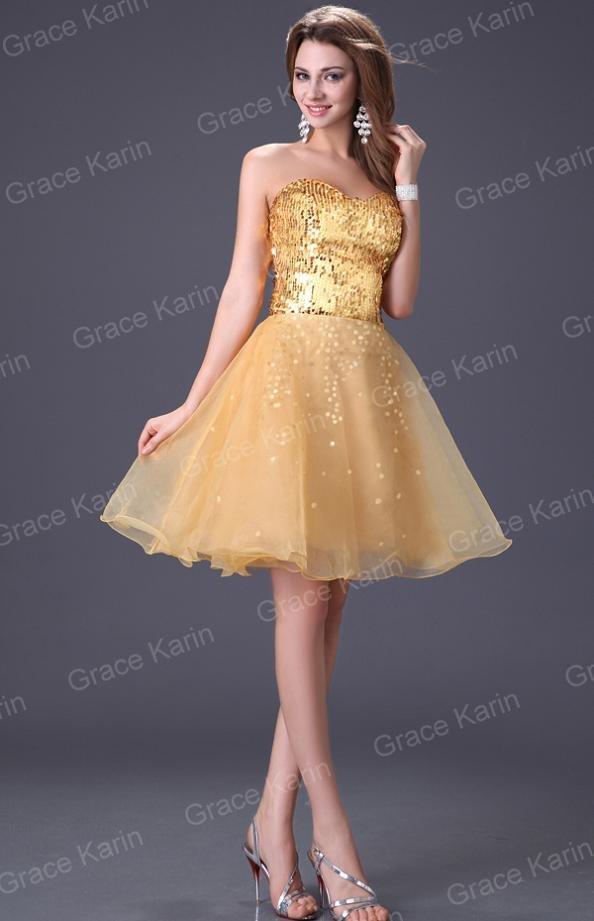 Золотистые короткие платья 211