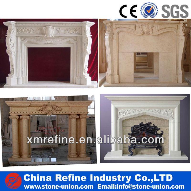 Beige stone fireplace