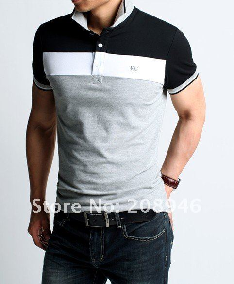 fashionable men's short sleeve shirts, three colors for option, free shipping