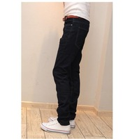 2012 free shipping Korea Men's Jeans Slim Fit Classic denim Jeans Trousers Straight Leg  Size 28~34 Button New 3563