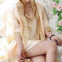 Sweet sexy female Flower bud silk pajamas Two Piece sleepwear dress pink/purple/balck/yellow SW005